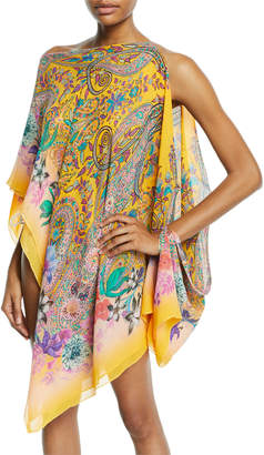 Etro Printed Cold-Shoulder Coverup Poncho