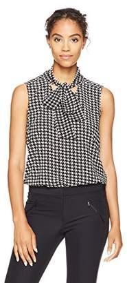 Kasper Women's Houndstooth Printed V Neck Tie Blouse