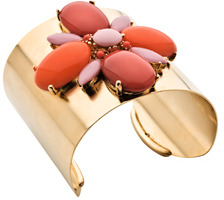 Ben Amun Gold Coral Colored Stone Cuff