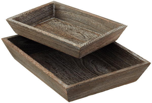 Container Store Feathergrain Wood Tapered Trays