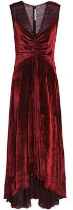 Rosetta Getty Knotted Flocked Chiffon Maxi Dress