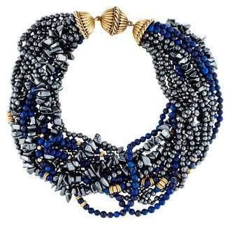 Lapis 14K & Hematine Multistrand Necklace
