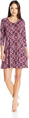 NY Collection Women's Petite Size Printed 3/4 Sleeeve Fit and Flare Dress, PM