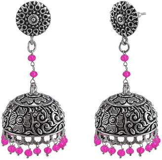 Silvestoo Jaipur Crystal Beads And Traditional Round Jhumki Earring From Jaipur Jewellery PG-125888