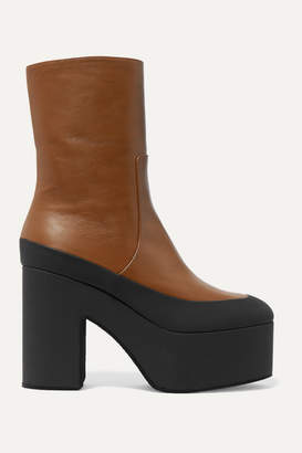 Dries Van Noten Rubber-trimmed Leather Platform Ankle Boots - Tan