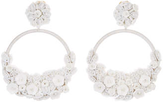 Oscar de la Renta Embellished Flower Clip-On Hoop Earrings
