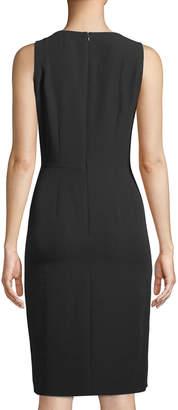 Tahari ASL Sleeveless Cascade Faux-Wrap Crepe Dress