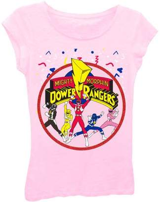 Power Rangers Groupshot and Logo Puff Sleeve Graphic Tee With Red Glitter (Big Girls)