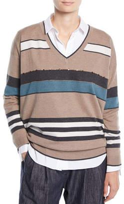 Brunello Cucinelli V-Neck 2-Ply Rugby-Stripe Cashmere Sweater w/ Paillettes