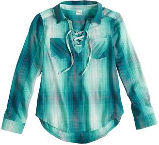 Mudd Girls 7-16 & Plus Size Lace-Up Popover Chambray Shirt