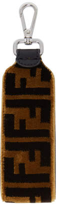 Fendi Brown and Black Large Velour Forever Keychain
