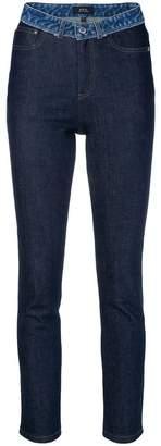 A.P.C. patchwork waist skinny jeans