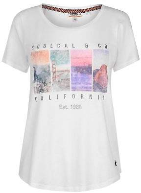 Soul Cal SoulCal Womens Photo T Shirt Crew Neck Tee Top Short Sleeve Print