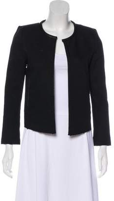 IRO Leather-Trimmed Open-Front Jacket