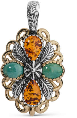 American West Two-Tone Amber and Turquoise Pendant Enhancer
