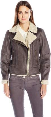 Lucky Brand Women's Faux Leather Jacket with Faux Shearling Interior