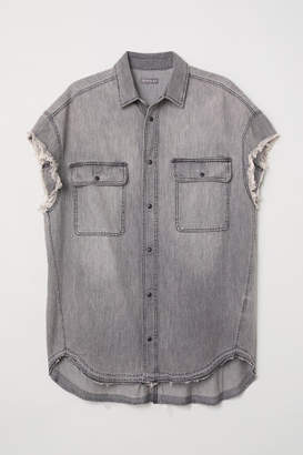 H&M Short-sleeved Denim Shirt - Gray