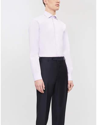 Emporio Armani Textured modern-fit cotton-twill shirt