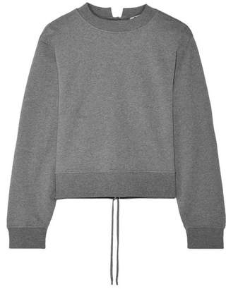 Alexander Wang Tie-back Cropped French Cotton-terry Sweatshirt - Anthracite