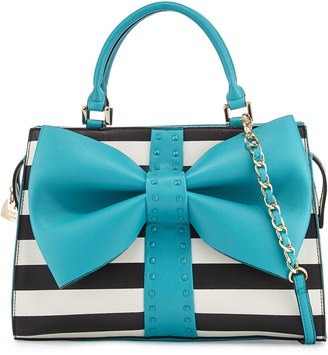 Betsey Johnson Curtsy Striped Bow Satchel Bag, Teal $95 thestylecure.com