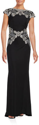Tadashi Shoji Cap Sleeve Lace Accented Gown $479 thestylecure.com