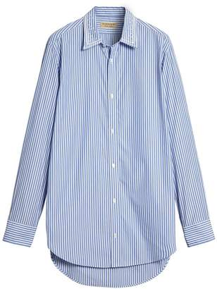 Burberry Embroidered Collar Striped Cotton Shirt