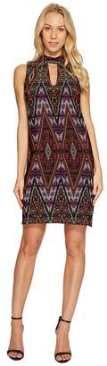 London Times Litebright Tile Mock Neck Shift Dress Women's Dress