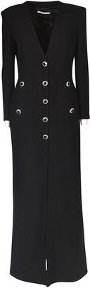 Alessandra Rich Long Length V-neck Buttoned Dress