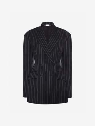 Alexander McQueen Drop Shoulder Pinstripe Jacket