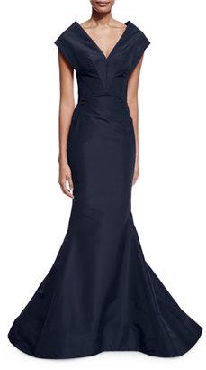 Zac Posen Silk V-Neck Mermaid Gown, Navy $4,990 thestylecure.com