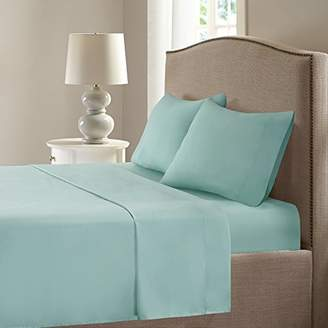 Smart Cool Bed Sheets Set - Microfiber Moisture Wicking Fabric Bedding - Queen Size Sheets - Aqua Incl. Flat Sheet