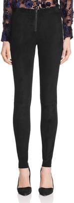 Alice + Olivia Zip Front Suede Leggings