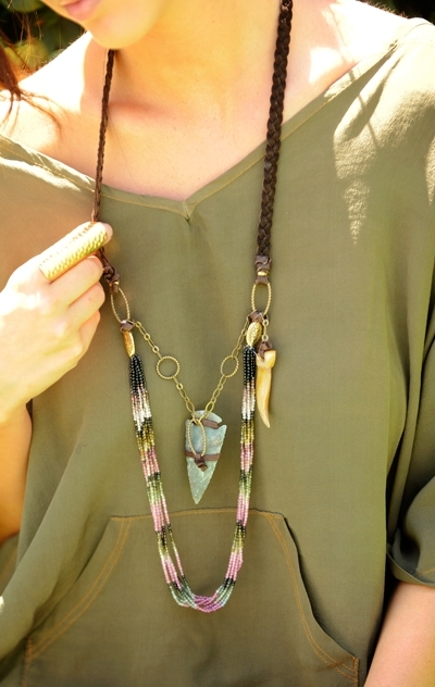 Cynthia Dugan Shark Tooth Beaded Necklace