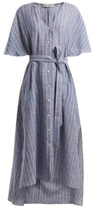 Palmer Harding Palmer//Harding Palmer//harding - Striped Tie Waist Linen Dress - Womens - Navy Stripe