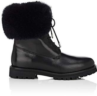 Mr & Mrs Italy Women's Fur-Cuff Leather Combat Boots