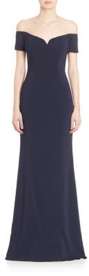 Badgley Mischka Off-The-Shoulder Short Sleeve Gown $595 thestylecure.com