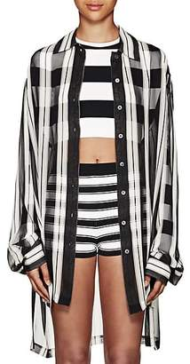 Marc Jacobs Women's Striped Silk Oversized Blouse - Black Pat.