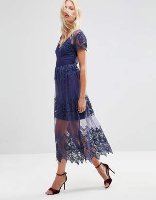 ASOS Embroidered Mesh and Lace Midi Dress $106 thestylecure.com