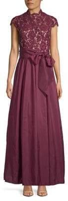 Eliza J Cap Sleeve Embellished Gown