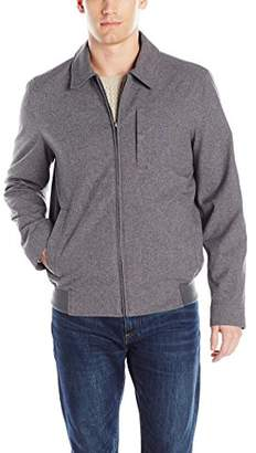 Perry Ellis Men's Heather Zip Front Laydown Collar Jacket