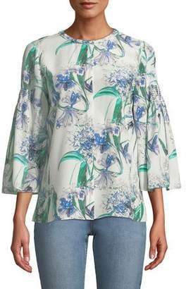 Kobi Halperin Becca Flower-Print Silk Blouse