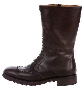 Salvatore Ferragamo Leather Round-Toe Boots