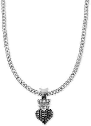 """King Baby Studio Women Pave Crown Heart 18"""" Pendant Necklace in Sterling Silver"""