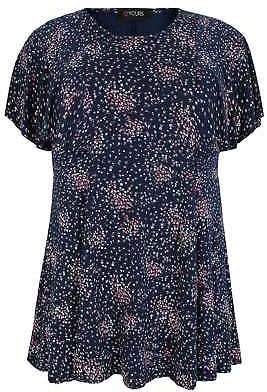 Yours Clothing Women's Plus Size Ditsy Floral Peplum Top With Frill Angel Sleeves