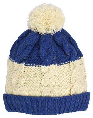 Cold Front Women's Nep Yarn Color Block Beanie with Pom, Fleece Lined