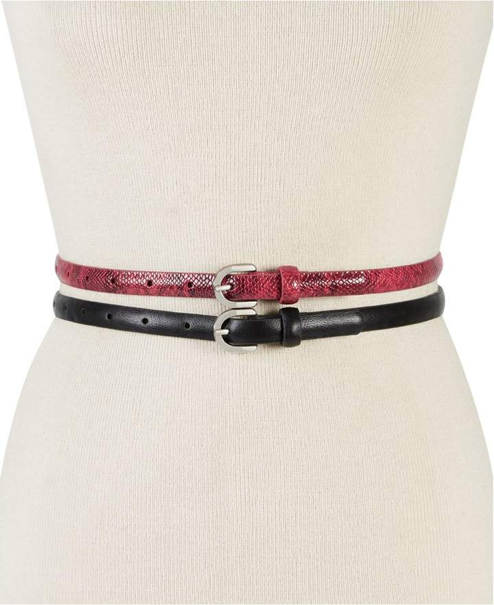 INC International Concepts Python-Embossed 2-For-1 Belts,Created for Macy's
