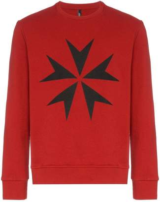 Neil Barrett Maltese cross print cotton jumper