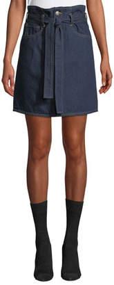 3x1 Kelly Denim Paperbag-Waist Skirt