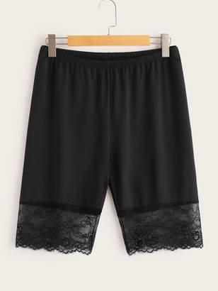 Shein Plus Solid Eyelash Lace Hem Shorts