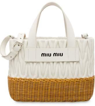 Miu Miu matelassé and wicker tote bag